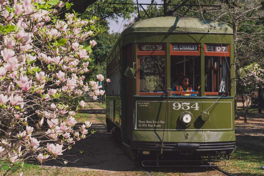St. Charles Streetcar im Frühling